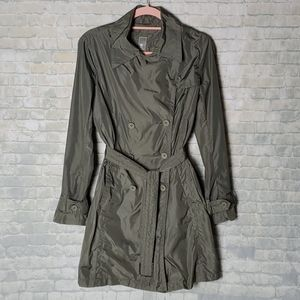 add olive green trench coat size 4